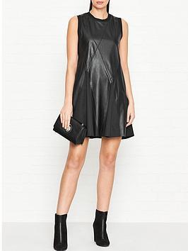 sportmax-code-aguzzo-leather-flared-dress-black