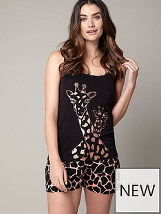 boux-avenue-rose-gold-giraffe-short-set-black