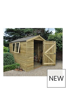 forest forest 8x6ft premium tongue groove apex shed pressure treated - Garden Sheds Very