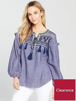 river-island-printed-smock-blouse-blue