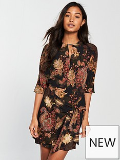 river-island-river-island-printed-tie-waisted-dress--black