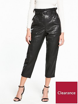 river-island-river-island-belted-pu-tapered-leg-trousers--black