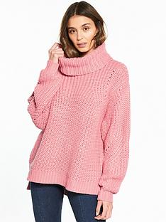 river-island-river-island-chunky-roll-neck-jumper--pink