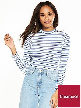 river-island-river-island-high-neck-stripe-long-sleeve-t-shirt-blue