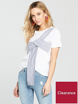 river-island-stripe-bow-t-shirt--white