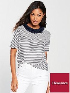 river-island-river-island-stripe-flower-neck-boxy-t-shirt--navy