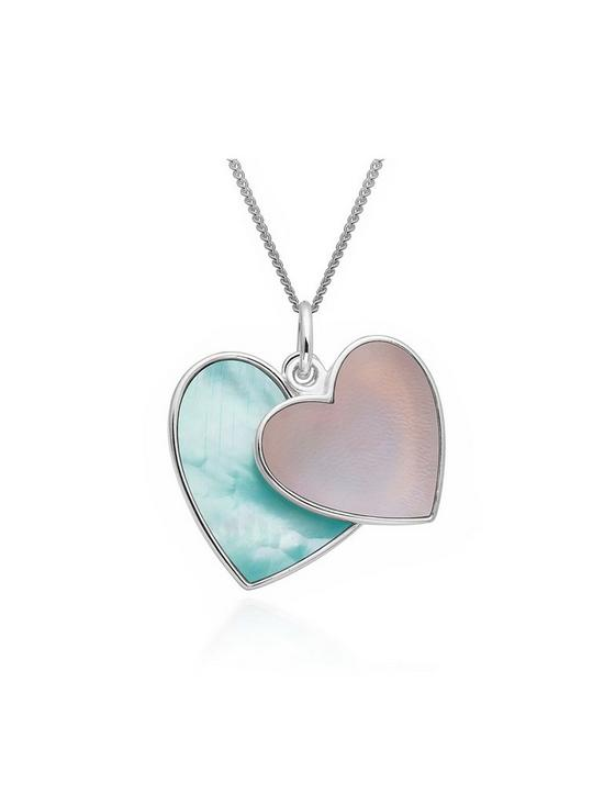 Love pearl sterling silver blue and pink mother of pearl heart love pearl sterling silver blue and pink mother of pearl heart pendant very aloadofball Image collections