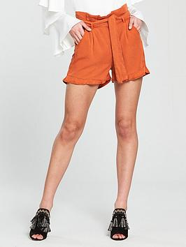 v-by-very-paper-bag-waist-short-with-ruffle-hem-rust