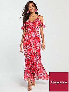 v-by-very-sweetheart-neck-frill-maxi-dress-red-print