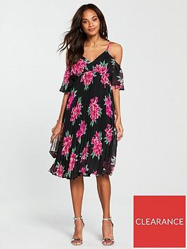 v-by-very-pleated-cold-shoulder-midi-dress-black-print