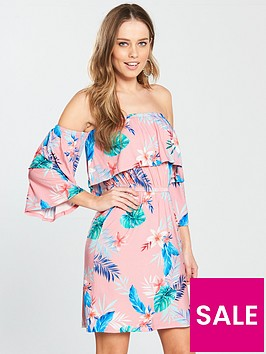 v-by-very-tropical-print-tiered-bardot-jersey-dress-pinknbsp
