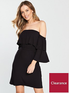 v-by-very-tiered-bardot-jersey-dress-black