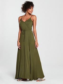 v-by-very-wrap-split-front-maxi-dress-khaki