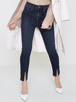 Ri Petite Amelie Front Split Jeans- Dark