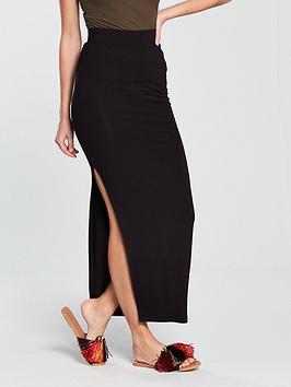 v-by-very-side-split-jersey-maxi-skirt-black
