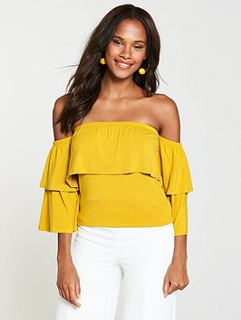 v-by-very-tiered-floaty-jersey-top-yellow