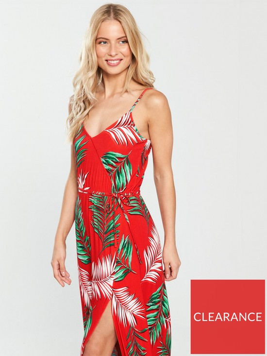 eed64c07cb6 V by Very Wrap Split Front Jersey Maxi Dress - Red Floral