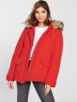 Vila Must Short Parka Jacket With Faux Fur Hood