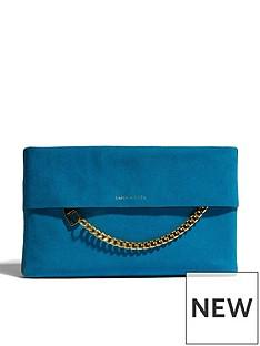 karen-millen-chain-zip-print-clutch-bag-blue
