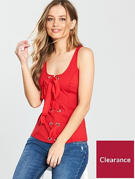 v-by-very-eyelet-lace-up-vest-red