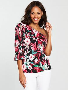 v-by-very-one-sleeve-frill-top-floral-print