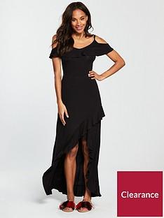 v-by-very-petite-frill-dip-hem-jersey-maxi-dress-blacknbsp