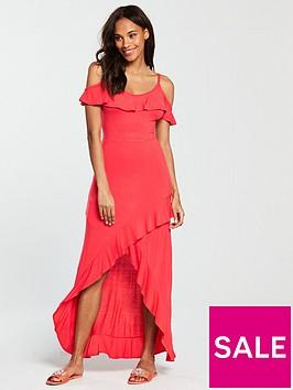 v-by-very-frill-dip-hem-jersey-maxi-dress-bright-pink