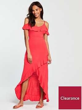 v-by-very-frill-dip-hem-jersey-maxi-dress-bright-pink