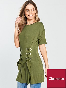 v-by-very-eyelet-lace-up-tunic-top-khaki