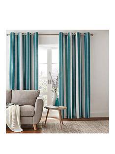 catherine-lansfield-herringbone-stripe-lined-eyelet-curtains