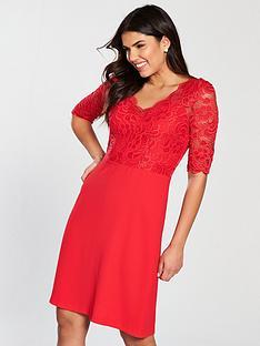 wallis-lace-top-dress-red