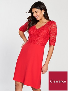 wallis-lace-top-dress-red