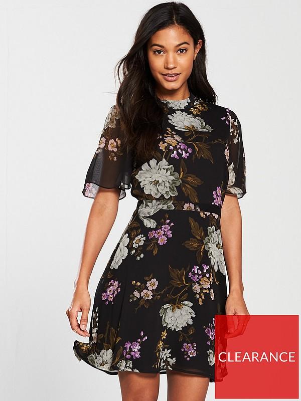 9d1b991426f3d5 Warehouse Molly Print Dress - Black Floral | very.co.uk
