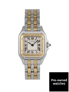 cartier-cartier-pre-owned-panthere-2-row-quartz-off-white-dial-bimetal-ladies-watch-ref-1120