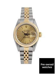 rolex-rolex-pre-owned-datejust-champagne-baton-dial-bimetal-ladies-watch-with-original-paperwork-ref-69173