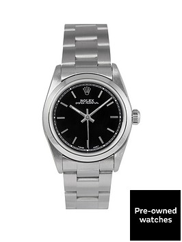 rolex-rolex-pre-owned-midsize-oyster-perpetual-black-baton-dial-stainless-steel-mens-watch-ref-77080