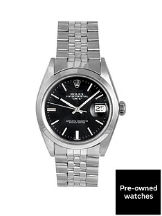 rolex-rolex-pre-owned-oyster-perpetual-date-black-baton-dial-stainless-steel-mens-watch-ref-1500