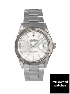 rolex-rolex-pre-owned-datejust-turnograph-silver-baton-dial-mens-watch-ref-16264
