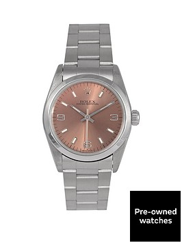 rolex-rolex-pre-owned-midsize-oyster-perpetual-salmon-3-6-and-9-dial-mens-watch-ref-67480