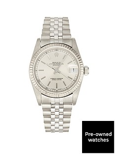 rolex-rolex-pre-owned-midsize-datejust-silver-baton-dial-mens-watch-ref-68274