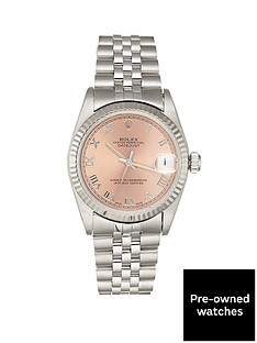 rolex-rolex-pre-owned-midsize-datejust-salmon-roman-numeral-dial-stainless-steel-mens-watch-ref-68274