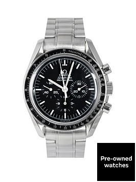 omega-omega-pre-owned-speedmaster-mechanical-black-dial-mens-watch-ref-357050