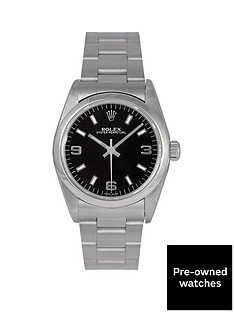 rolex-rolex-pre-owned-midsize-oyster-perpetual-black-3-6-and-9-dial-stainless-steel-mens-watch-ref-77080