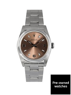 rolex-pre-owned-midsize-oyster-perpetual-salmon-3-6-and-9-dial-stainless-steel-mens-watch-ref-77080