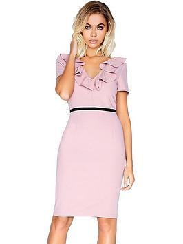 paper-dolls-short-sleeve-frill-neck-dress