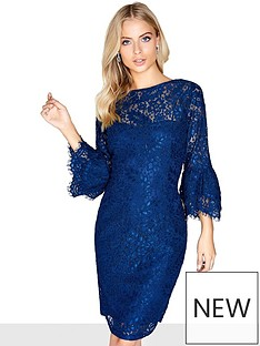 paper-dolls-lace-frill-sleeve-midi-dress