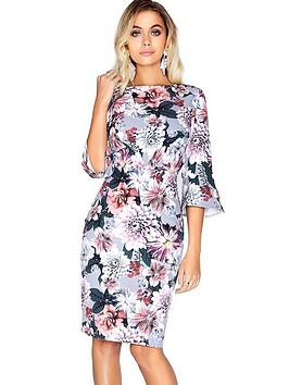 paper-dolls-printed-fluted-sleeve-midi-dress