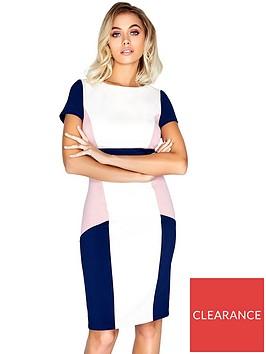 paper-dolls-short-sleeve-colour-block-midi-dress