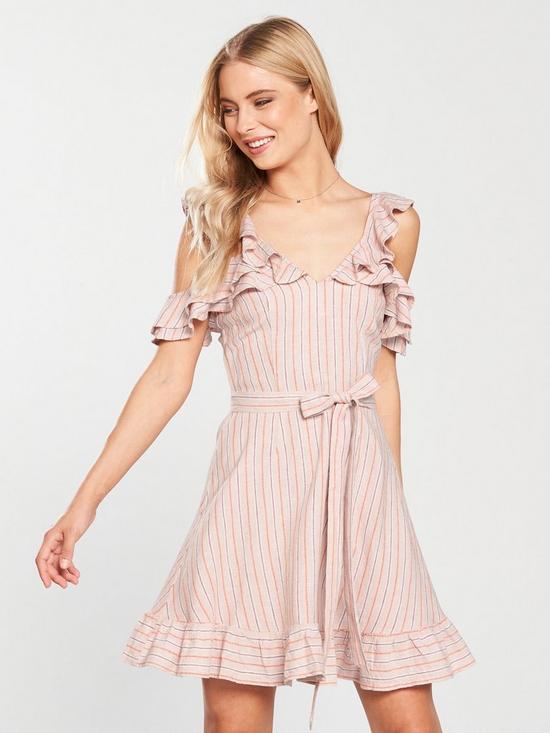 d6d39d037f V by Very Cold Shoulder Tie Waist Linen Dress - Stripe