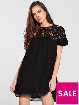 v-by-very-embroidered-dobby-dress-black